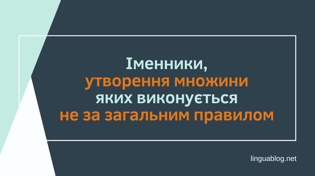 Read more about the article Іменники, утворення множини яких виконується не за загальним правилом