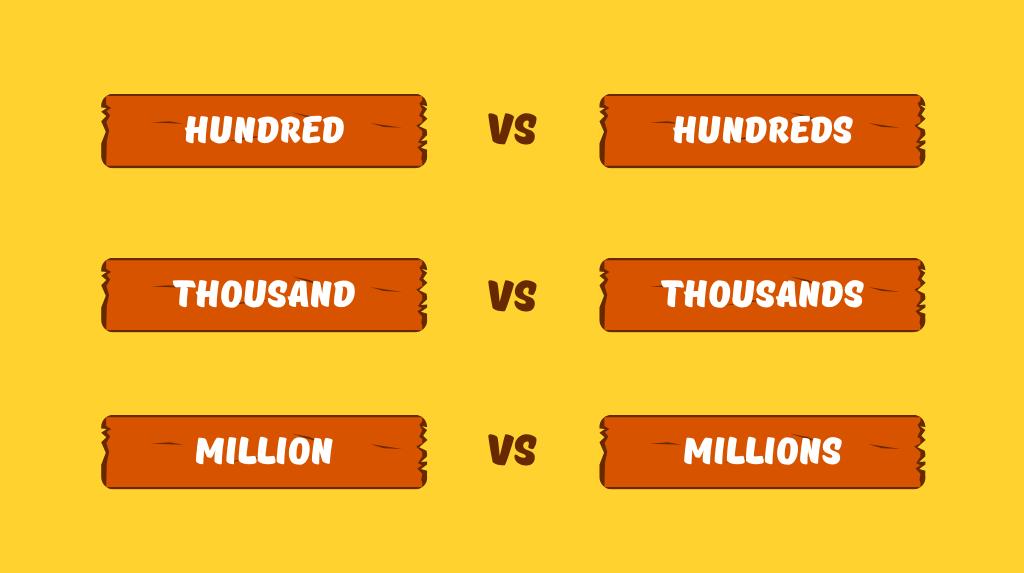 Різниця між hundred та hundreds, thousand та thousands і т.ін.